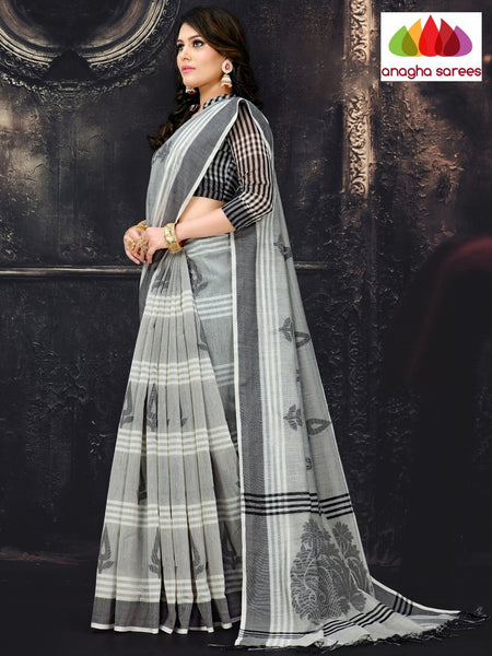Anagha Sarees Cotton-silk Length=6.2 metres  Width=44 inches / Grey Rich Cotton-Silk Saree - Grey : ANA_I63