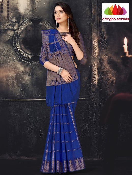 Anagha Sarees Cotton-silk Length=6.2 metres  Width=44 inches / Ink Blue Rich Cotton-Silk Saree - Ink Blue : ANA_I52