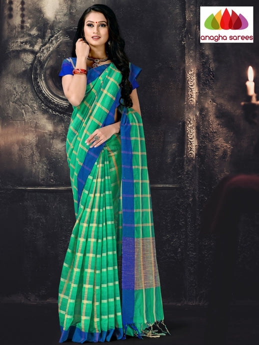 Anagha Sarees Cotton-silk Length=6.2 metres  Width=44 inches / Ivory Rich Cotton-Silk Saree - Green : ANA_I54