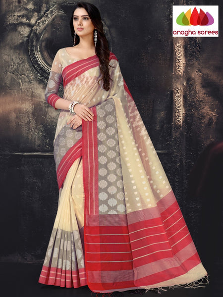 Anagha Sarees Cotton-silk Length=6.2 metres  Width=44 inches / Light Beige Rich Cotton-Silk Saree - Light Beige : ANA_I68