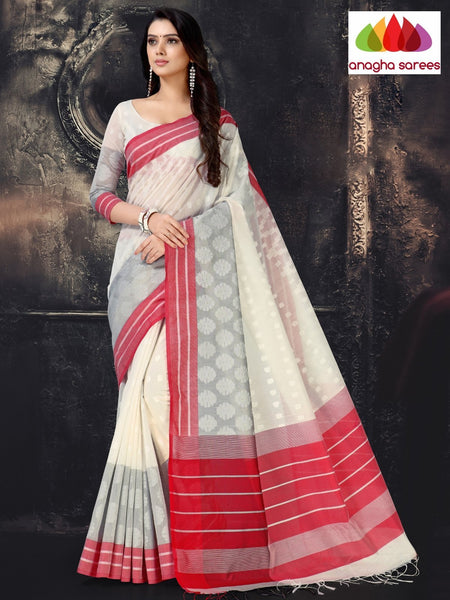 Anagha Sarees Cotton-silk Length=6.2 metres  Width=44 inches / Off White Rich Cotton-Silk Saree - Off White : ANA_I69
