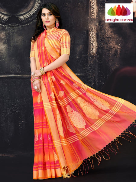 Anagha Sarees Cotton-silk Length=6.2 metres  Width=44 inches / Peach Rich Cotton-Silk Saree - Peach : ANA_I66