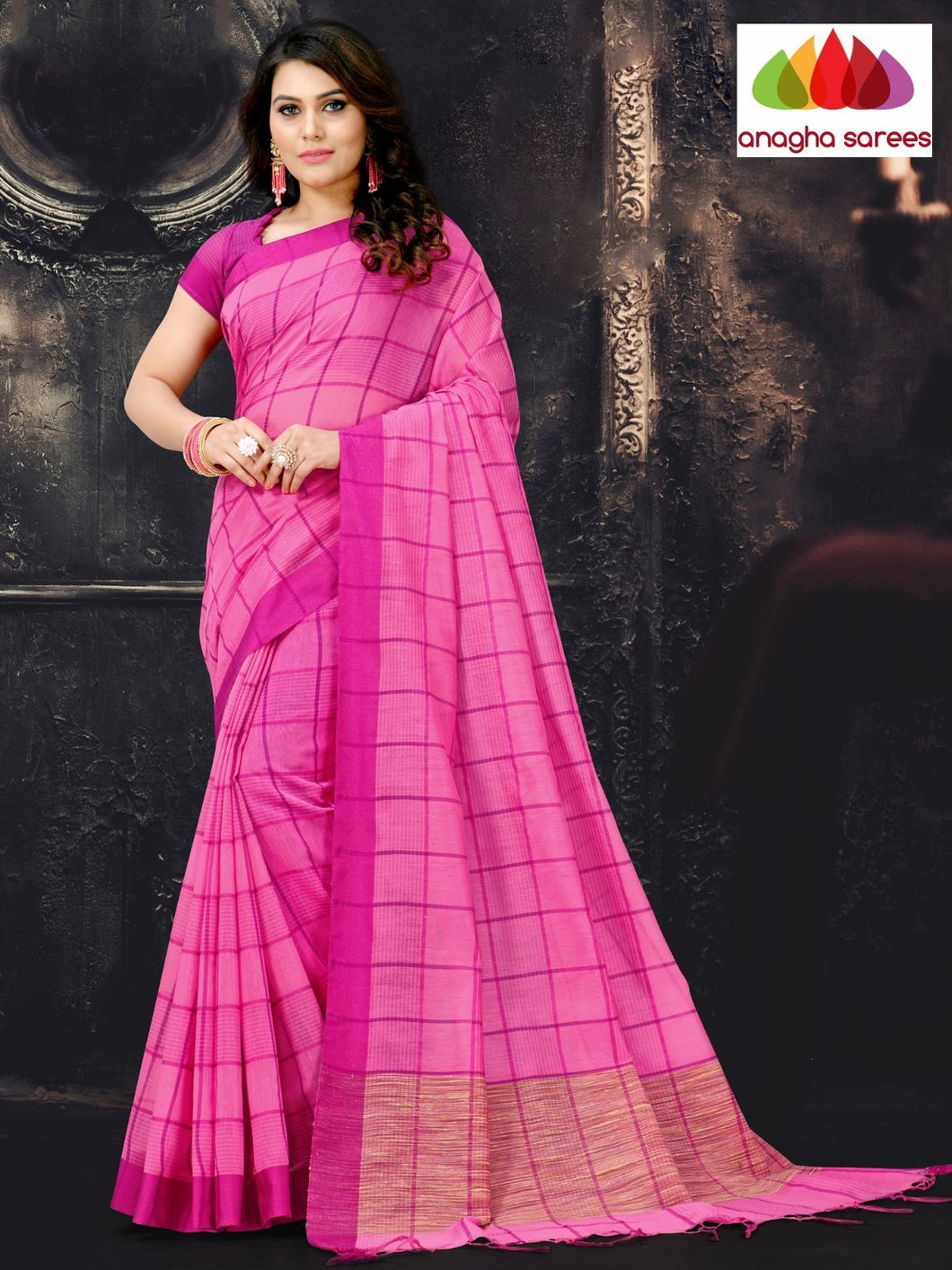 Anagha Sarees Cotton-silk Length=6.2 metres  Width=44 inches / Pink Rich Cotton-Silk Saree - Pink : ANA_I56