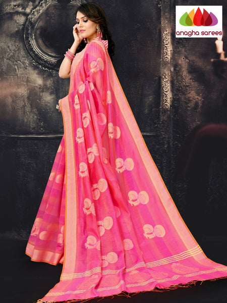 Anagha Sarees Cotton-silk Length=6.2 metres  Width=44 inches / Pink Rich Cotton-Silk Saree - Pink : ANA_I62
