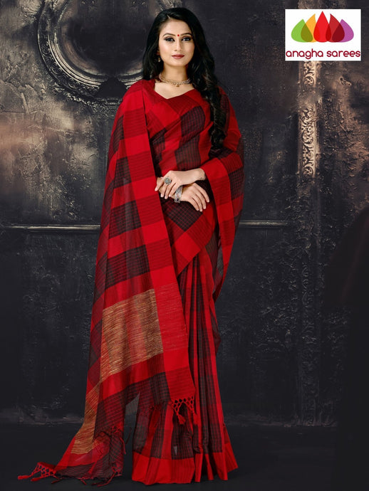 Anagha Sarees Cotton-silk Length=6.2 metres  Width=44 inches / Red/Black Rich Cotton-Silk Saree - Red/Black : ANA_I67