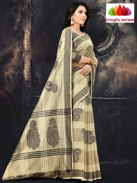 Anagha Sarees Cotton-silk Length=6.2 metres  Width=44 inches / Silver Grey Rich Cotton-Silk Saree - Silver Grey : ANA_I61