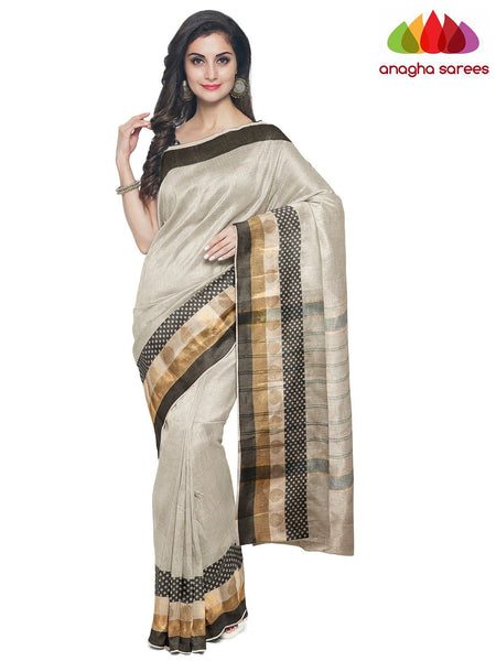 Anagha Sarees Cotton-silk Length=6.2 metres  Width=46 inches / Pink Handloom Chettinad Cotton Saree - Light Beige : ANA_J92