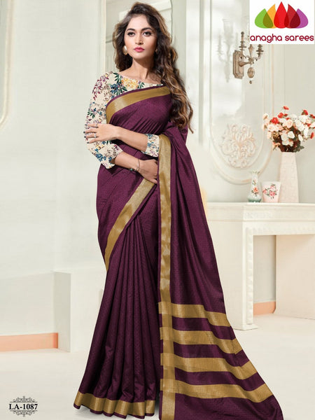 Anagha Sarees Cotton-silk Length=6.2metres, width=45 inches / Coffee Brown Kantha Cotton-Silk Saree - Coffee Brown : ANA_I93