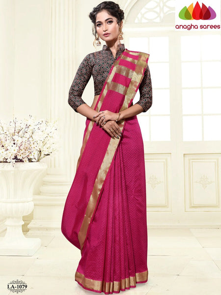 Anagha Sarees Cotton-silk Length=6.2metres, width=45 inches / Coffee Brown Kantha Cotton-Silk Saree - Dark Pink : ANA_I94