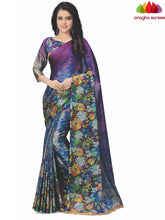Anagha Sarees Cotton-silk Length=6.3metres, width=45 inches / Blue/Purple Designer Floral Print Cotton-Silk Saree - Blue/Purple : ANA_K73