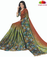 Anagha Sarees Cotton-silk Length=6.3metres, width=45 inches / Green/Rust Designer Floral Print Cotton-Silk Saree - Green/Rust : ANA_K72