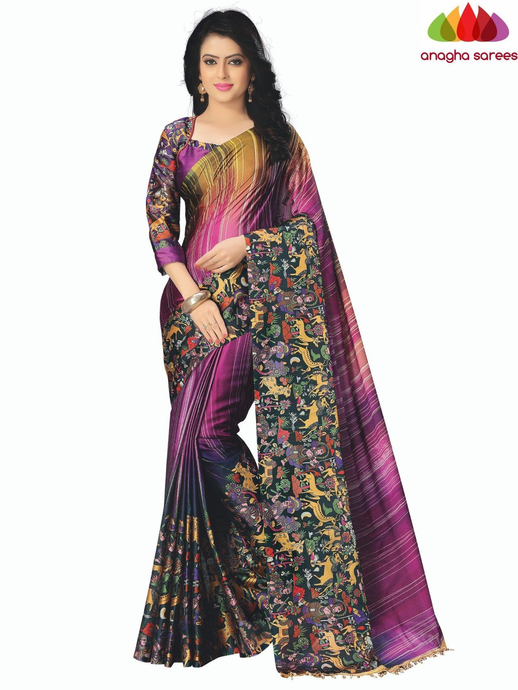 Anagha Sarees Cotton-silk Length=6.3metres, width=45 inches / Magenta/Mustard Designer Tribal Print Cotton-Silk Saree - Magenta/Mustard : ANA_K66