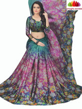 Anagha Sarees Cotton-silk Length=6.3metres, width=45 inches / Red/Blue Designer Floral Print Cotton-Silk Saree - Green/Magenta : ANA_K70