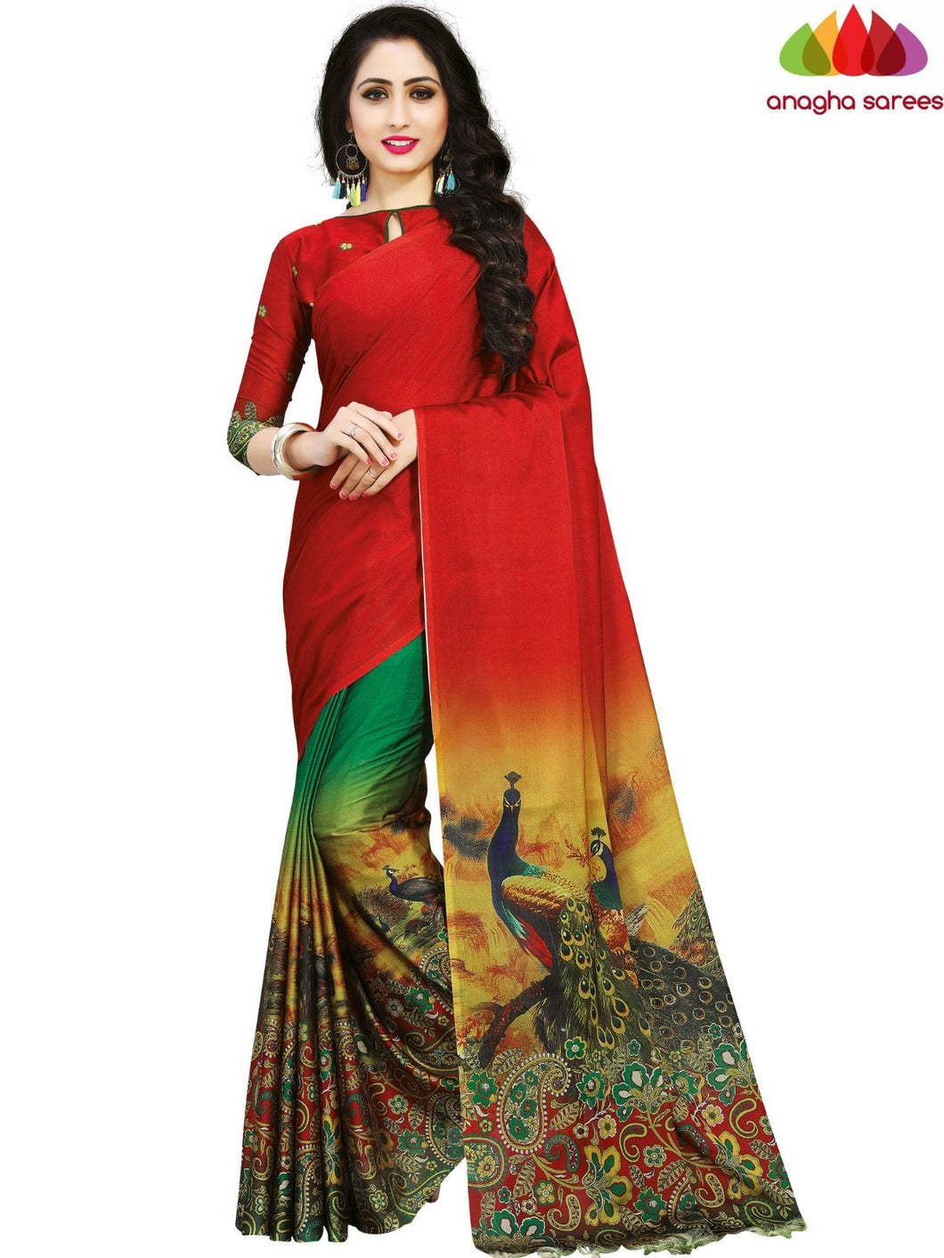 Anagha Sarees Cotton-silk Length=6.3metres, width=45 inches / Red/Green Designer Peacock Print Cotton-Silk Saree - Red/Green : ANA_K54