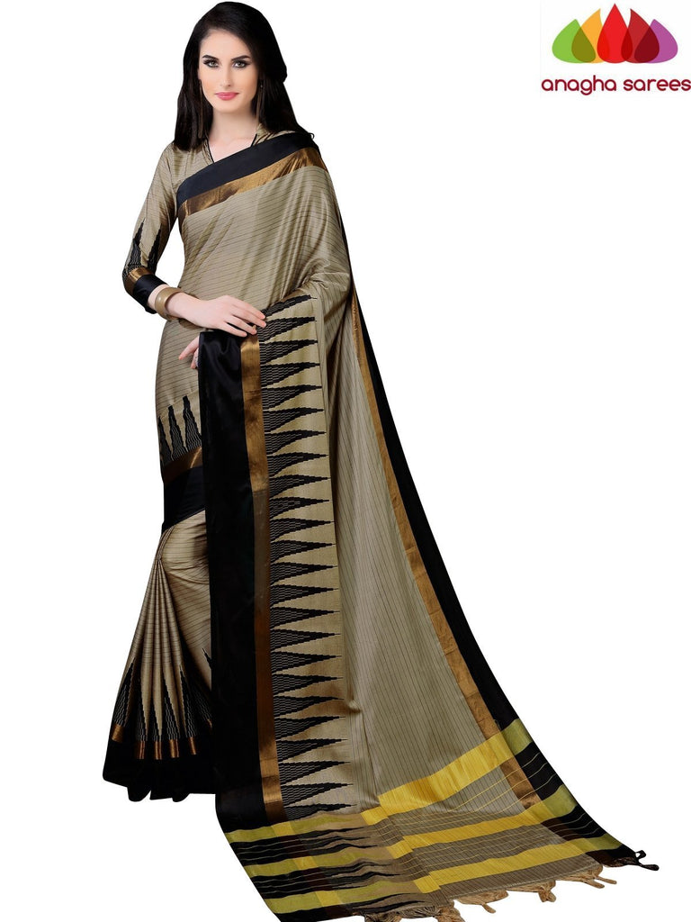 Anagha Sarees Cotton-silk Soft Cotton Silk Saree - Beige/Black ANA_767
