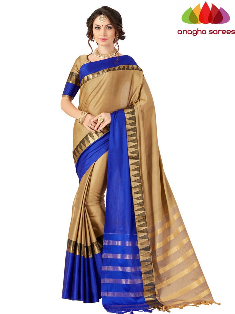 Anagha Sarees Cotton-silk Soft Cotton-Silk Saree - Beige/Blue ANA_525