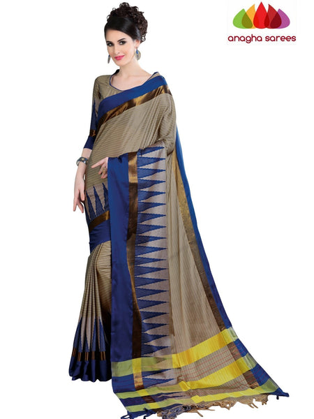 Soft Cotton Silk Saree - Beige/Blue ANA_768