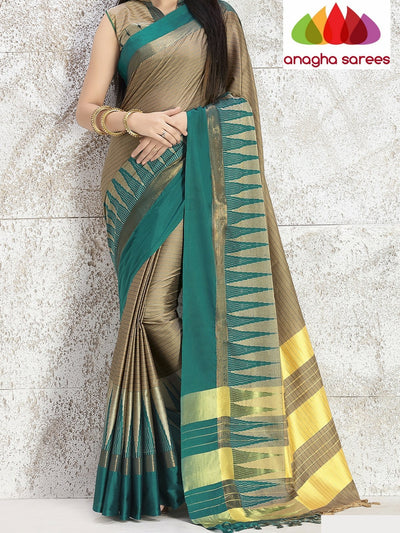 Soft Cotton Silk Saree - Beige/Bluish Green ANA_752 - Anagha Sarees