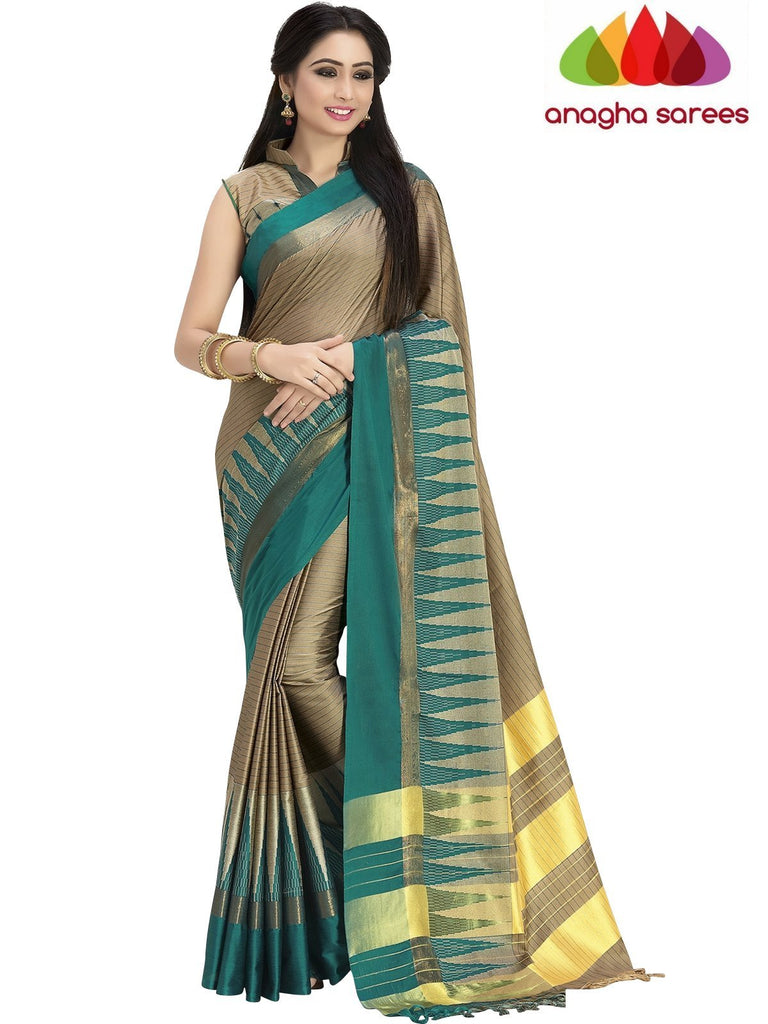 Soft Cotton Silk Saree - Beige/Bluish Green ANA_752 Anagha Sarees