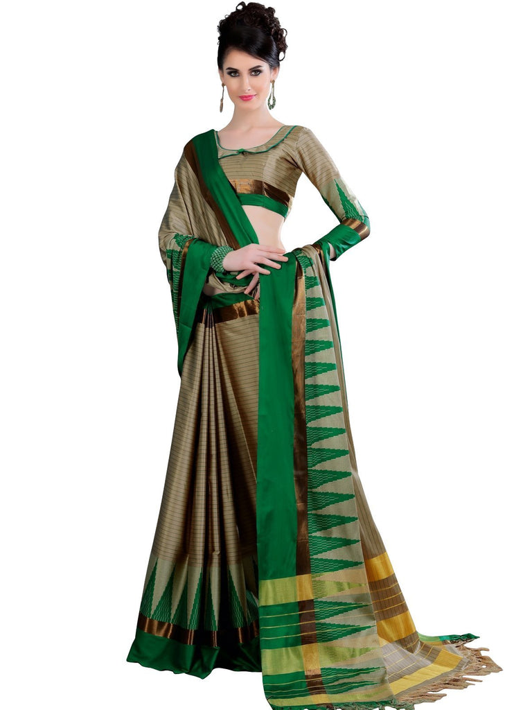 Soft Cotton Silk Saree - Beige/Green ANA_769 Anagha Sarees