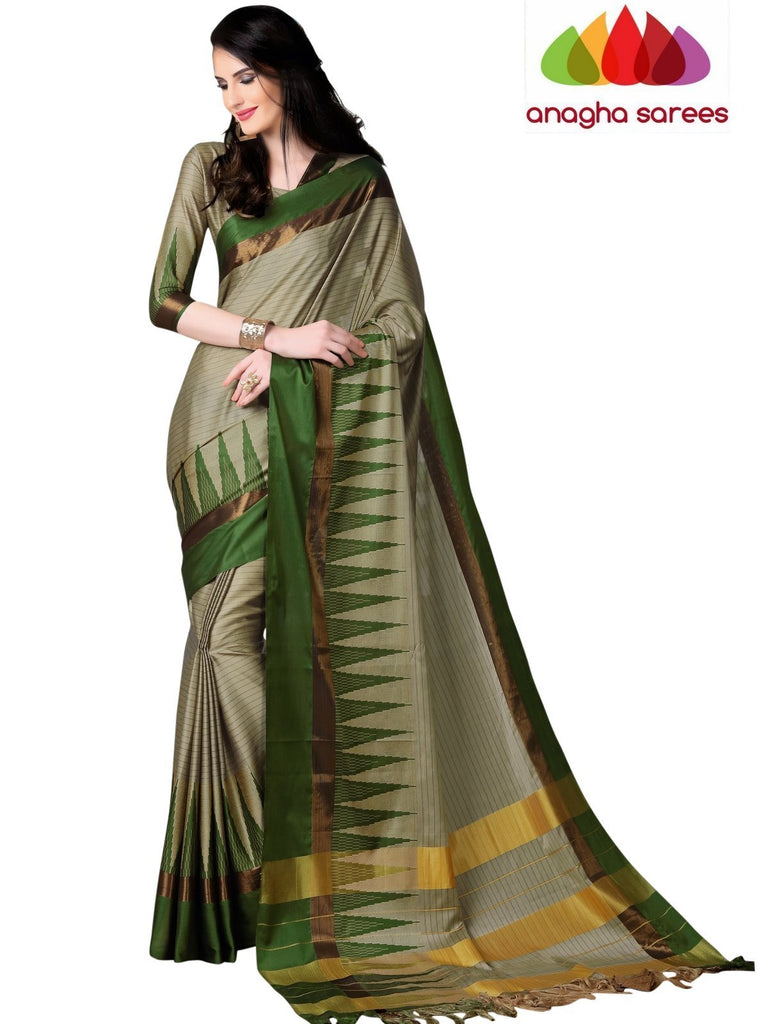 Soft Cotton Silk Saree - Beige/Green ANA_770 Anagha Sarees