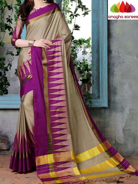 Anagha Sarees Cotton-silk Soft Cotton Silk Saree - Beige/Magenta ANA_771