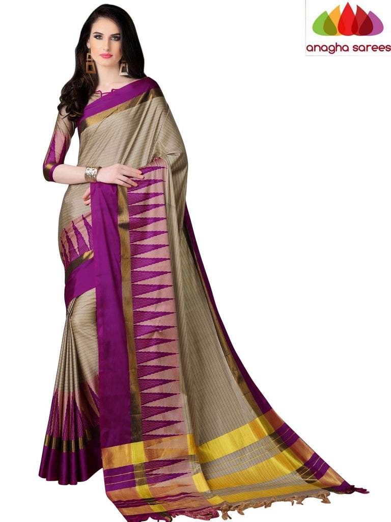 Soft Cotton Silk Saree - Beige/Magenta ANA_771 Anagha Sarees