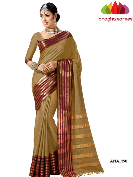 Anagha Sarees Cotton-silk Soft Cotton-Silk Saree - Beige/Maroon ANA_398