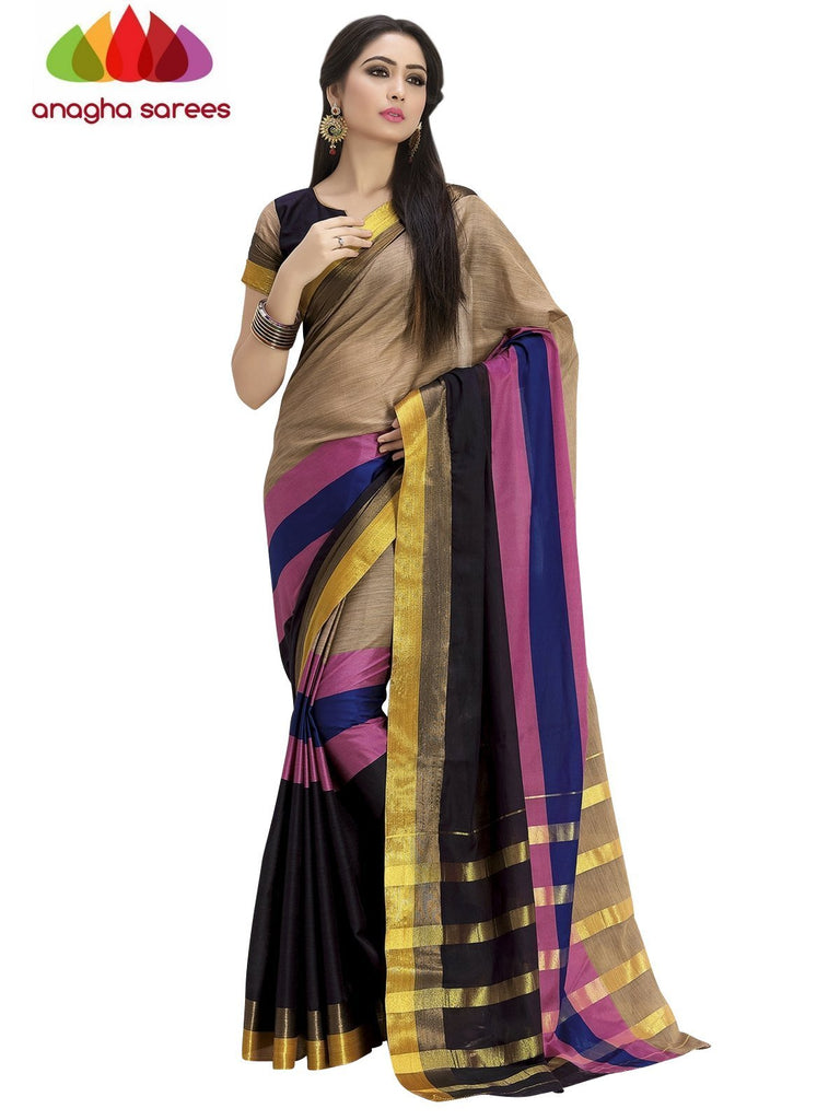 Soft Cotton Silk Saree - Beige/Multicolor ANA_753 Anagha Sarees