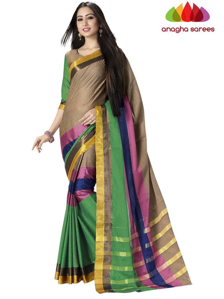 Soft Cotton Silk Saree - Beige/Multicolor ANA_754