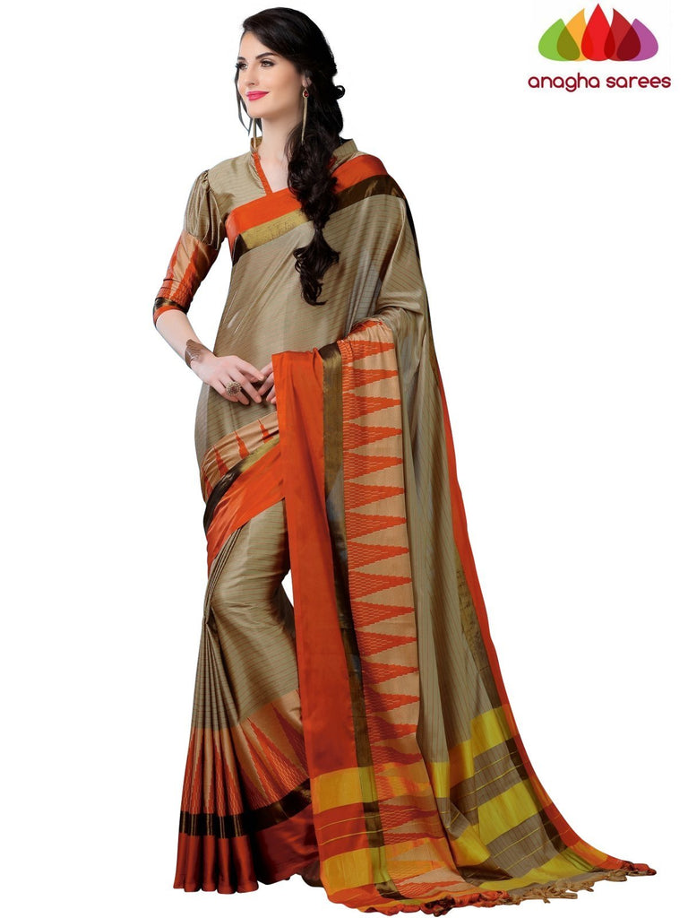 Soft Cotton Silk Saree - Beige/Orange ANA_772 Anagha Sarees