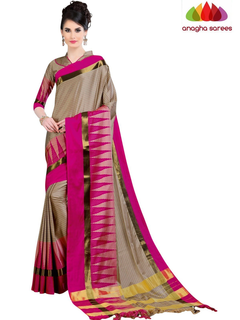 Soft Cotton Silk Saree - Beige/Pink ANA_773 Anagha Sarees