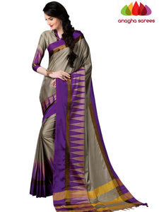 Soft Cotton Silk Saree - Beige/Purple ANA_774