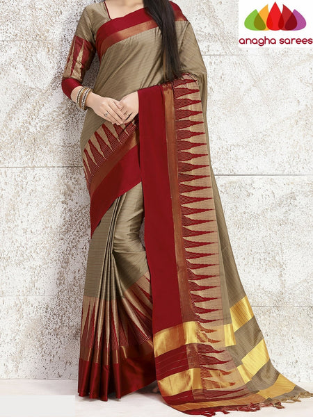 Anagha Sarees Cotton-silk Soft Cotton Silk Saree - Beige/Red ANA_755
