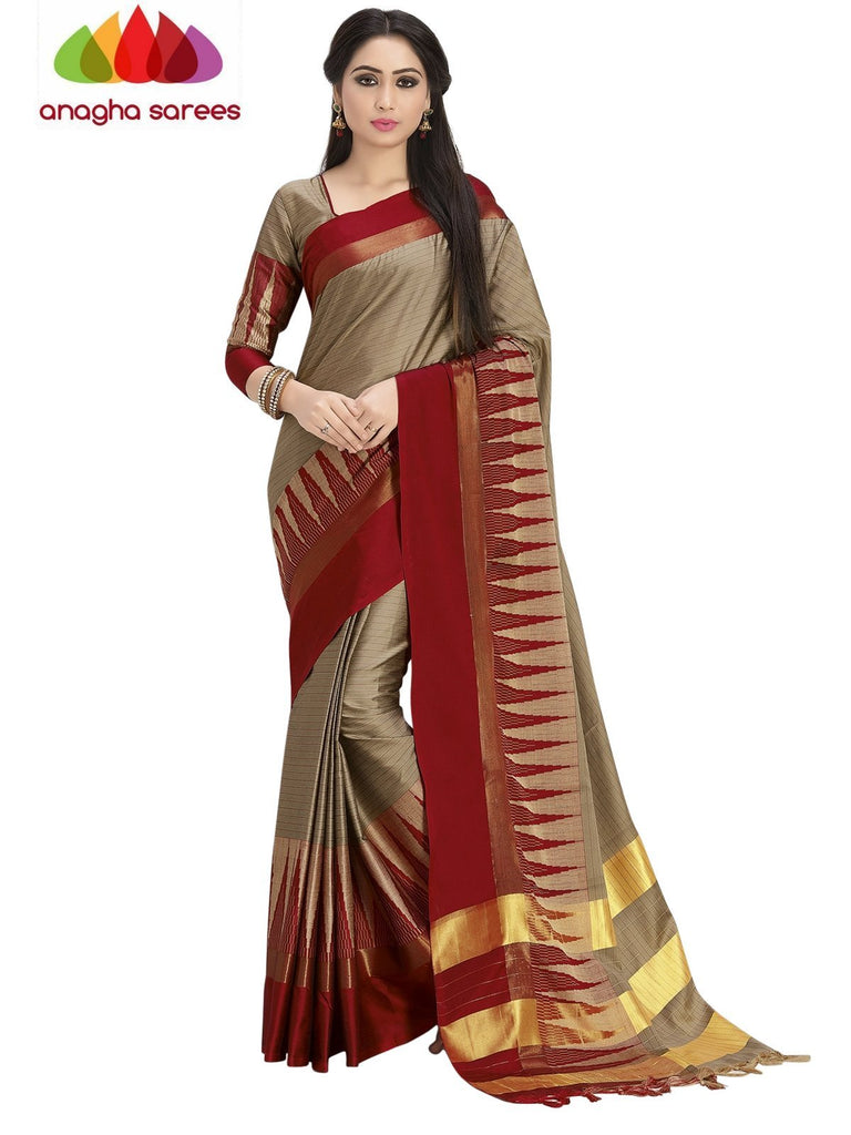 Soft Cotton Silk Saree - Beige/Red ANA_755 Anagha Sarees