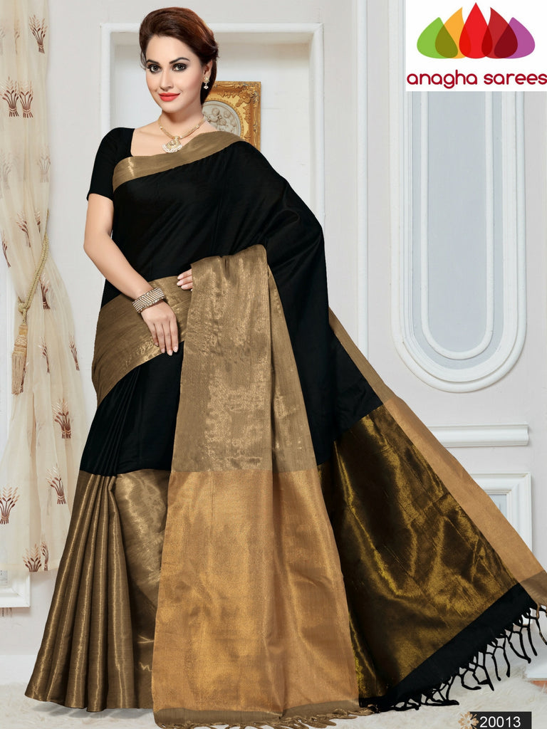 Soft Cotton-Silk Saree - Black  ANA_253 Anagha Sarees