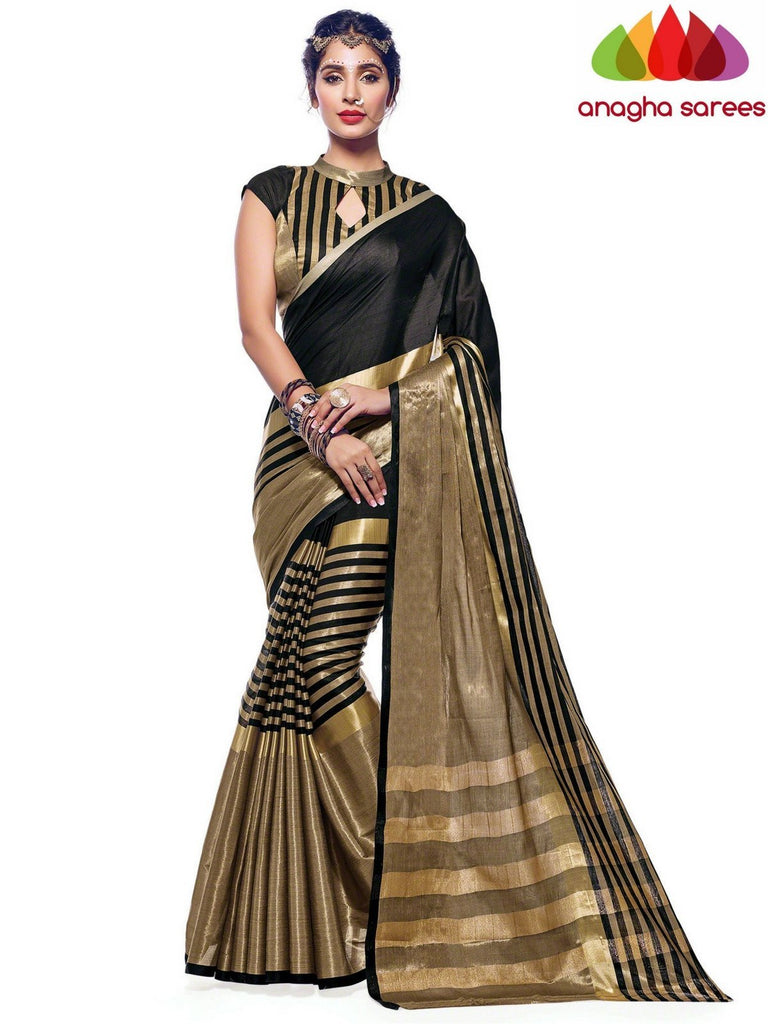 Soft Cotton Silk Saree - Black  ANA_569 Anagha Sarees