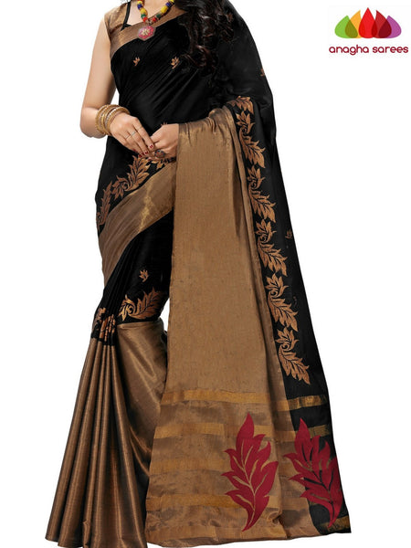 Anagha Sarees Cotton-silk Soft Cotton-Silk Saree - Black ANA_B12