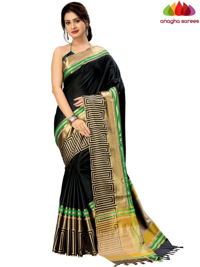 Soft Cotton-Silk Saree - Black ANA_B71 - Anagha Sarees