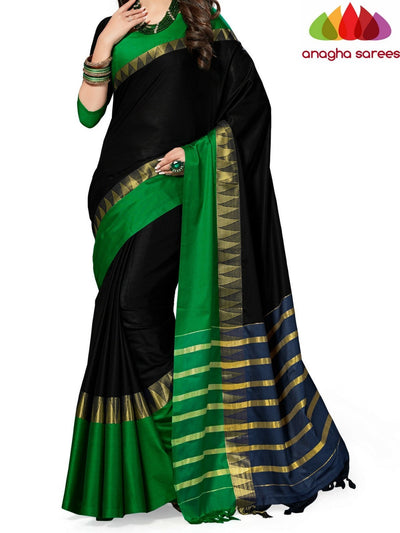 Soft Cotton-Silk Saree - Black/Green ANA_524 - Anagha Sarees