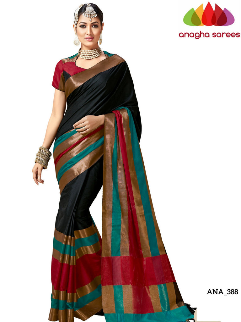 Soft Cotton-Silk Saree - Black/Long Border  ANA_388 Anagha Sarees