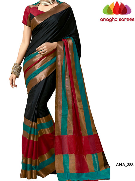 Anagha Sarees Cotton-silk Soft Cotton-Silk Saree - Black/Long Border  ANA_388