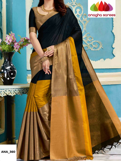 Soft Cotton-Silk Saree - Black/Mustard ANA_360 - Anagha Sarees