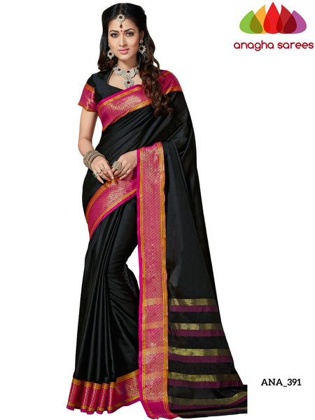 Anagha Sarees Cotton-silk Soft Cotton-Silk Saree - Black/Pink  ANA_391