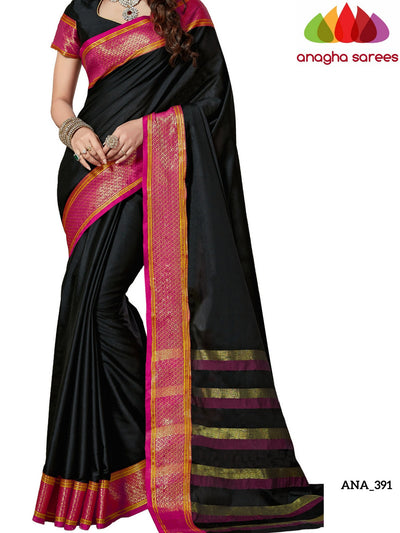 Soft Cotton-Silk Saree - Black/Pink  ANA_391 - Anagha Sarees