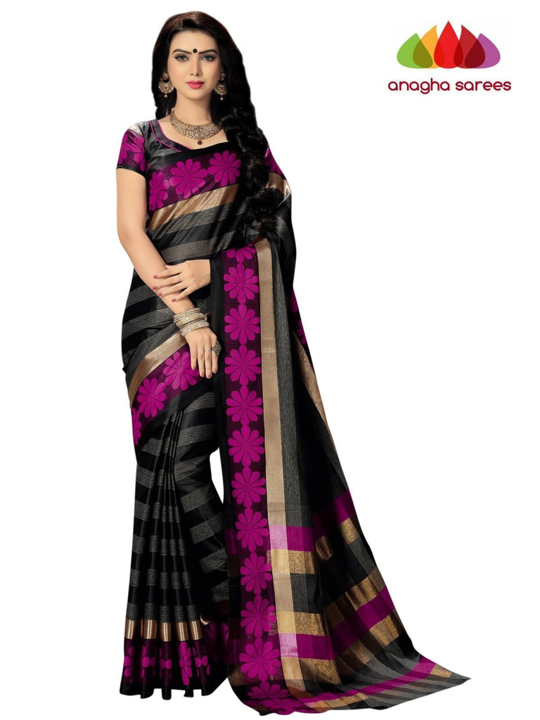 Soft Cotton Silk Saree - Black/Pink  ANA_740 Anagha Sarees