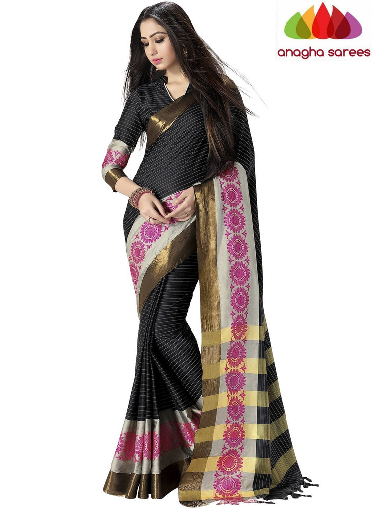 Soft Cotton Silk Saree - Black/Pink ANA_756 Anagha Sarees