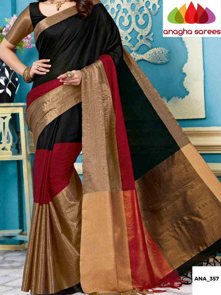 Anagha Sarees Cotton-silk Soft Cotton-Silk Saree - Black/Red ANA_357