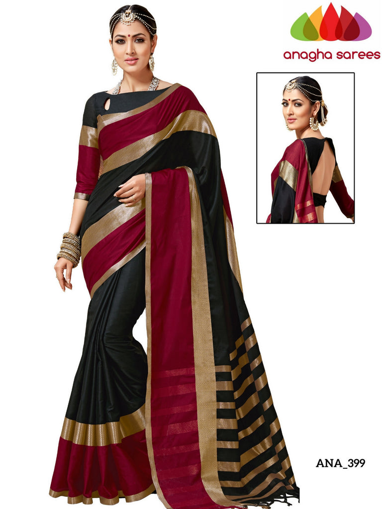 Anagha Sarees Cotton-silk Soft Cotton-Silk Saree - Black/Red ANA_399