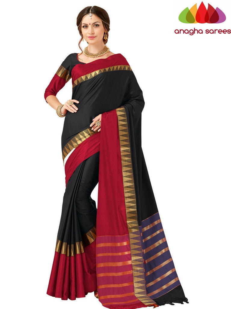 Soft Cotton-Silk Saree - Black/Red ANA_523 Anagha Sarees